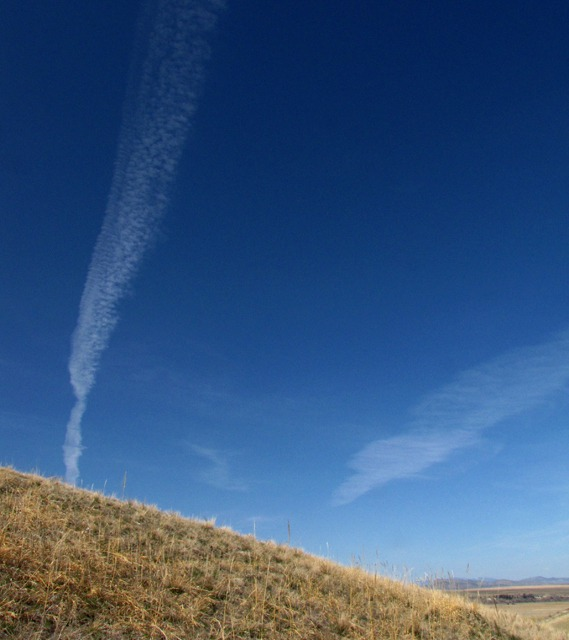 Contrails Over Ridge and Valley