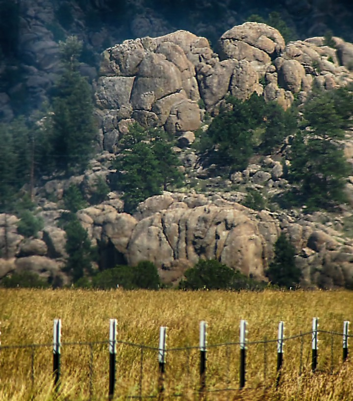 Fence line and Boulders on the East Arkansas River Valley Wall