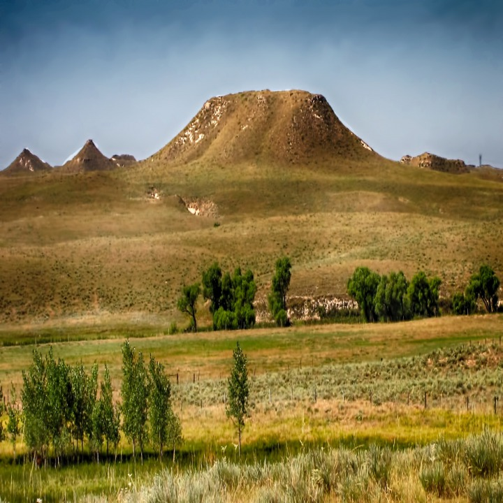 Prairie Butte And Cottonwoods