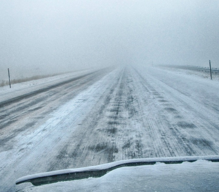 Ground Blizzard Ices up I-90
