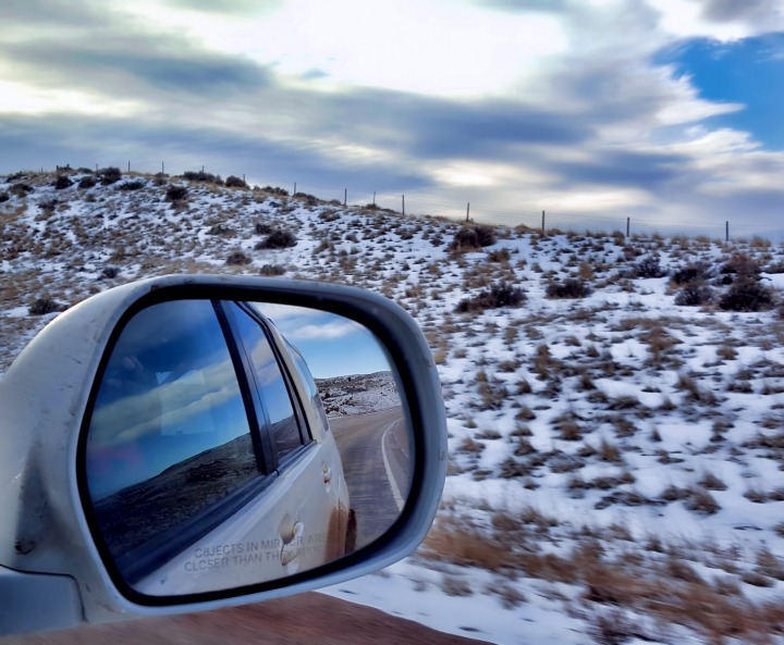 Roadside Blown Snow and Rear View Mirror