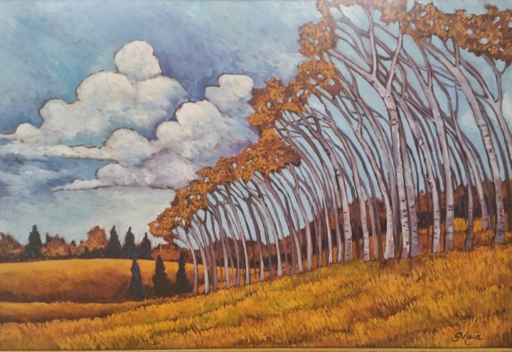 Leaning Aspens by Maia Leisz (Oil Painting)